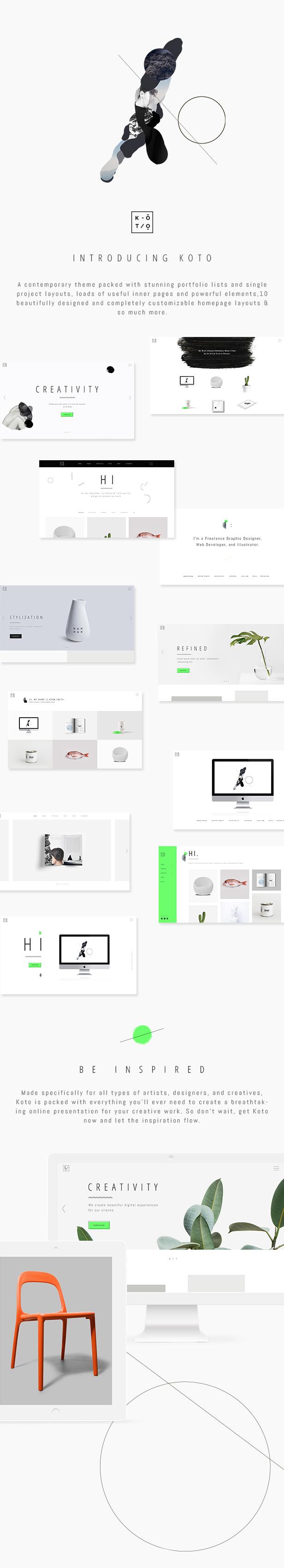 Koto - Tema de diseño y portafolio de artistas - 1